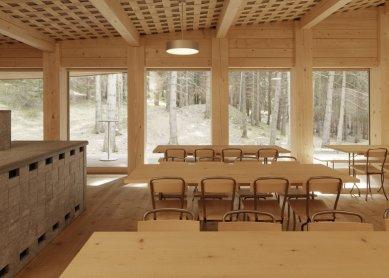 K výstavě Giona Caminady v Českých Budějovicích - Lesní chata Domat/Ems - foto: Lucia Degonda