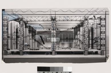 La Biennale di Venezia 2014 - ohlédnutí za jednotlivými pavilony - CH - Cedric Price: Fun palace interior perspective,1964 - foto: Cedric Price fonds, Canadian Centre for Architecture, Montréal