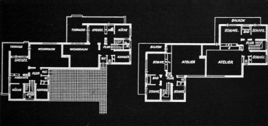 Karel Teige: Novostavby Bauhausu v Dessavě  - Seriový dvojdomek pro učitele Bauhausu - přízemí a 1.patro
