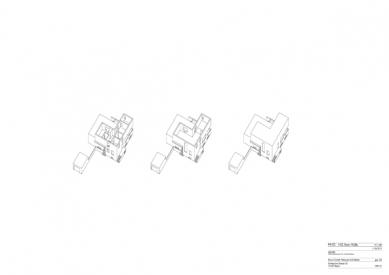 Znovuvybudování mistrovských domu pro učitele Bauhausu v Desavě - Vila Gropius - axonometrie - foto: Bruno Fioretti Marquez Architekten