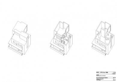 Znovuvybudování mistrovských domu pro učitele Bauhausu v Desavě - Dům Moholy-Nagy - axonometrie - foto: Bruno Fioretti Marquez Architekten