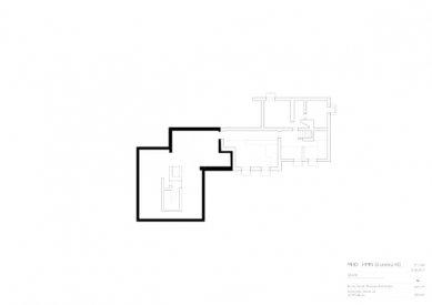 Znovuvybudování mistrovských domu pro učitele Bauhausu v Desavě - Dům Moholy-Nagy - půdorys suterénu - foto: Bruno Fioretti Marquez Architekten