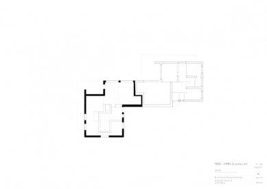 Znovuvybudování mistrovských domu pro učitele Bauhausu v Desavě - Dům Moholy-Nagy - půdorys přízemí - foto: Bruno Fioretti Marquez Architekten