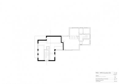 Znovuvybudování mistrovských domu pro učitele Bauhausu v Desavě - Dům Moholy-Nagy - půdorys patra - foto: Bruno Fioretti Marquez Architekten
