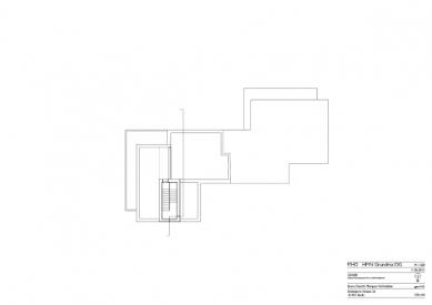 Znovuvybudování mistrovských domu pro učitele Bauhausu v Desavě - Dům Moholy-Nagy - výkres střechy - foto: Bruno Fioretti Marquez Architekten