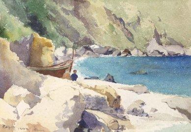 Výstava: Sedm cest architekta Osvalda Polívky (1859-1931) - Capri, 1889, akvarel