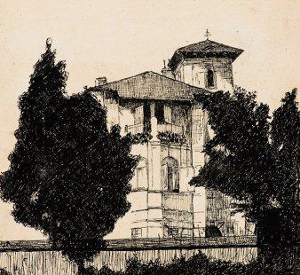 Výstava: Sedm cest architekta Osvalda Polívky (1859-1931) - Vila Tomáše Černého, Nymburk, 1901, kresba perem