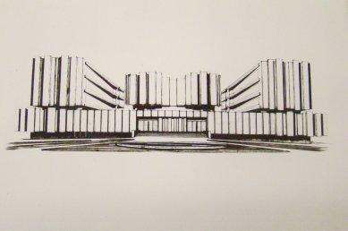 Přeformátováno - pozvánka na komentovanou prohlídku FI MU - Jan Dvořák, perspektivní kresba vstupního průčelí