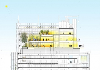 Sídlo banky Intesa Sanpaolo v Turíně od Renzo Piana - Řez střešní zahradou - foto: RPBW