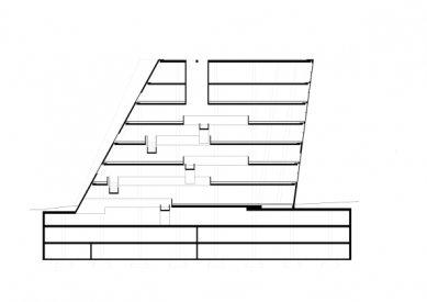Nová univerzitní knihovna ve Freiburgu od Heinricha Degelo - Řez - foto: Degelo Architekten
