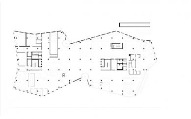 Nová univerzitní knihovna ve Freiburgu od Heinricha Degelo - Půdorys přízemí - foto: Degelo Architekten