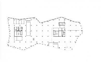 Nová univerzitní knihovna ve Freiburgu od Heinricha Degelo - Půdorys 2.np - foto: Degelo Architekten