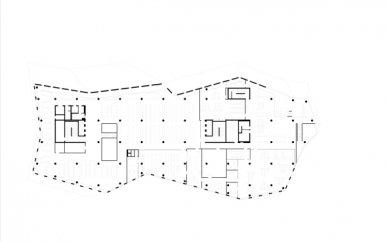 Nová univerzitní knihovna ve Freiburgu od Heinricha Degelo - Půdorys 5.np - foto: Degelo Architekten