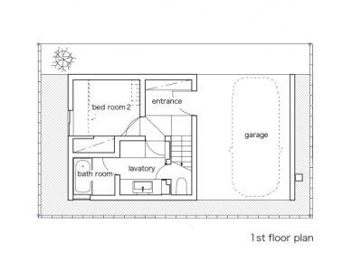 Minimalistický dům v Tokiu od Takuro Yamamoto - Půdorys přízemí - foto: Takuro Yamamoto Architects