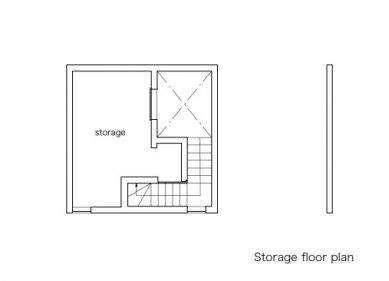 Minimalistický dům v Tokiu od Takuro Yamamoto - Půdorys skladového mezipatra - foto: Takuro Yamamoto Architects