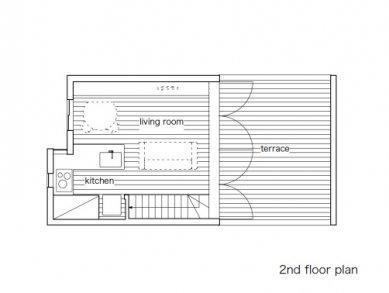 Minimalistický dům v Tokiu od Takuro Yamamoto - Půdorys obytného patra - foto: Takuro Yamamoto Architects
