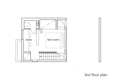 Minimalistický dům v Tokiu od Takuro Yamamoto - Půdorys klidového patra - foto: Takuro Yamamoto Architects