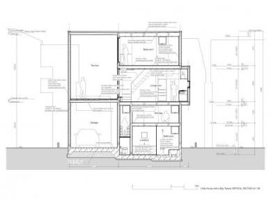 Minimalistický dům v Tokiu od Takuro Yamamoto - Řez - foto: Takuro Yamamoto Architects