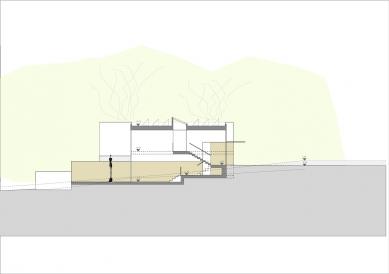 """Rodinný dům s """"terasovitým"""" interiérem a výhledem na jezero - Vertikální řez - foto: Foto kredit wolffarchitekten.com"""