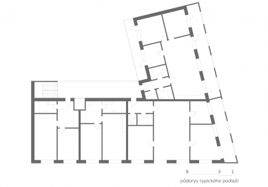 OLOVĚNÝ DUŠAN 2016 - Architektura a urbanismus: vítězný projekt - Rohový bytový dům - typické podlaží