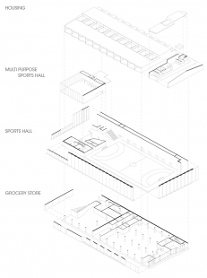 Sportovní hala v Kodani od Dorte Mandrup - Axonometrie - foto: Dorte Mandrup Arkitekter