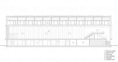 Sportovní hala v Kodani od Dorte Mandrup - Podélný řez - foto: Dorte Mandrup Arkitekter