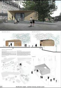 Multifunkční objekt na náměstí Svobody v Jánských Lázních - výsledky soutěže - 2. cena - foto: Ing. arch. Peter Mosio