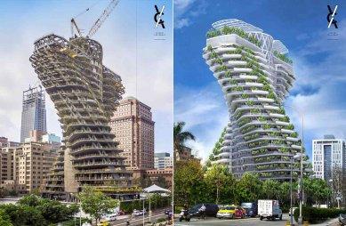 V Tchaj-peji roste mrakodrap, jenž má pojmout 130 tun CO2 ročně