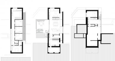 Rodinný dům zasazený do přirozeného prostředí vyrostl v Belgii - Půdorysy - foto: Grondal Architecture