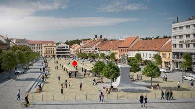 Podobu třebíčské kašny bude řešit architektonická soutěž - vizualizace nové podoby Karlova náměstí v Třebíči, poloha kašny vyznačena červenou tečkou - foto: návrh Atelier RAW s.r.o.