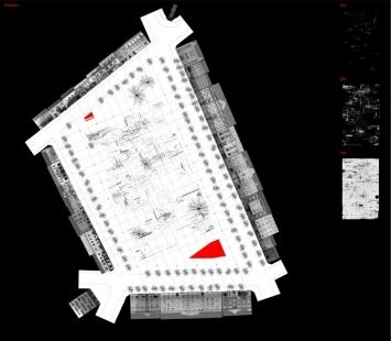 Cena Petra Parléře 2006 - výsledky - Cena Petra Parléře 2006 - Přerov - Úprava náměstí Svobody - Ing. arch. Zbyněk Ryška - půdorys