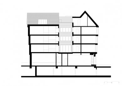 Starý odchodní dům ve Frankfurtu od Meinrada Morgera - Podélný řez - foto: Morger Partner Architekten