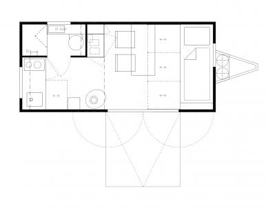 Designový domek Mobile Hut má kola, jezhliníkového plechu, ale ctí archetypální tvar českého domu - Půdorys