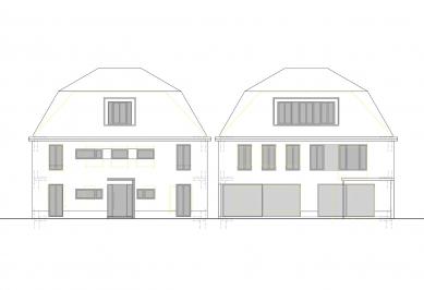Renovace rodinného domu v německém městě Bergisch Gladbach - Schéma fasády s uspořádáním prosklených ploch: pohled z ulice (vlevo) a ze zahrady