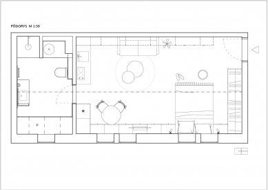 Loftový byt prosvětlila výhradně střešní okna - Půdorys