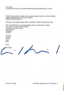 Reakce Emila Přikryla k ukončenému konkurzu v lounské galerii