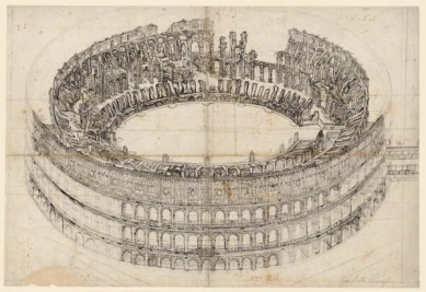 300 let od narození Piranesiho - výstava v berlínské Kunstbibliothek - Římské Koloseum z ptačího pohledu ze severu, kolem 1760-1770 - foto: Giovanni Battista Piranesi