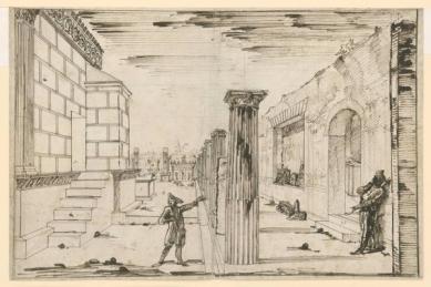 300 let od narození Piranesiho - výstava v berlínské Kunstbibliothek - Boční pohled na Chrám bohyně Isis v Pompejích, kolem 1778 - foto: Giovanni Battista Piranesi