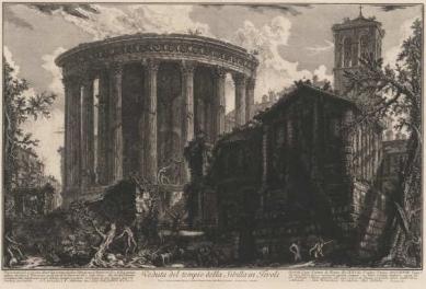 300 let od narození Piranesiho - výstava v berlínské Kunstbibliothek - Pohled na Sibylin chrám v Tivoli, kolem 1761  - foto: Giovanni Battista Piranesi
