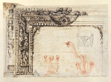 300 let od narození Piranesiho - výstava v berlínské Kunstbibliothek - Návrh krbu s detailní studií, kolem 1764-1769  - foto: Giovanni Battista Piranesi