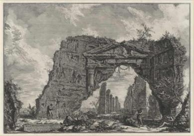 300 let od narození Piranesiho - výstava v berlínské Kunstbibliothek - Zbytky portiku nebo kryptoportiku v Domitiánově vile, 1766  - foto: Giovanni Battista Piranesi