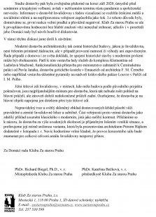 Stanovisko kstudii na dostavbu pražské Invalidovny