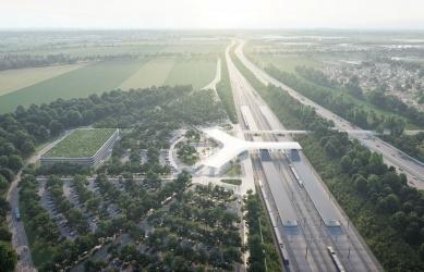 Vysokorychlostní terminál Praha východ navrhnou ov-architekti - Vizualizace: DOUSEK-ZABORSKY