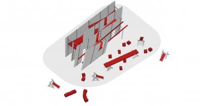Instalace OFF FENCE na Benátském bienále architektury 2021 - Axonometrie