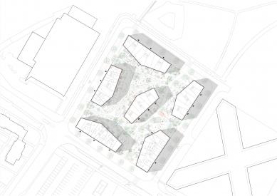 Bytové domy 4 Dvory v Českých Budějovicích - vítězný projekt - Situace - foto: Malý Chmel