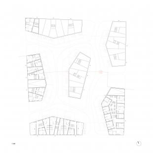 Bytové domy 4 Dvory v Českých Budějovicích - vítězný projekt - Půdorys 1.np - foto: Malý Chmel