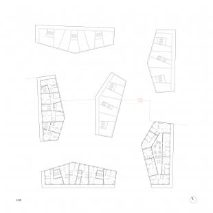 Bytové domy 4 Dvory v Českých Budějovicích - vítězný projekt - Půdorys 6.np - foto: Malý Chmel