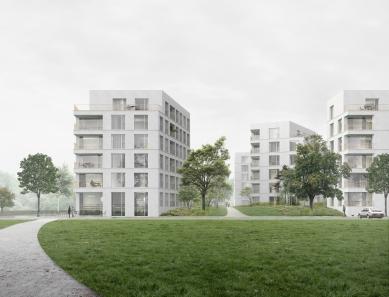 Bytové domy 4 Dvory v Českých Budějovicích - vítězný projekt - Vizualizace z parku - foto: Malý Chmel