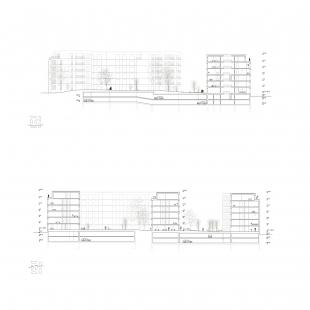 Bytové domy 4 Dvory v Českých Budějovicích - vítězný projekt - Řezy - foto: Malý Chmel