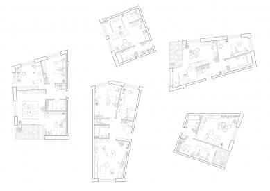 Bytové domy 4 Dvory v Českých Budějovicích - vítězný projekt - Půdorysy bytů - foto: Malý Chmel